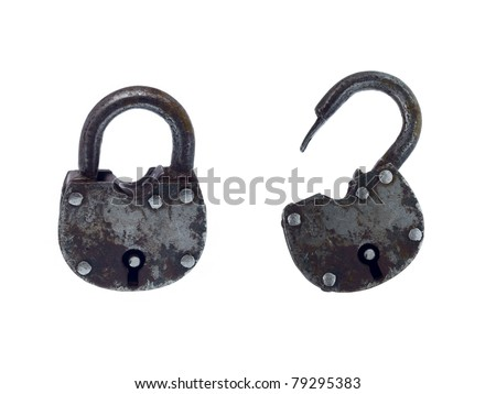 The old hinged iron lock - stock photo