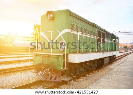 The old historic locomotive - stock photo