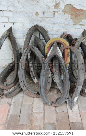 The old horses clamps - stock photo