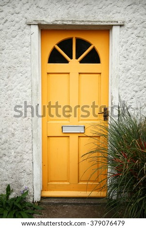 The old house door represent the house decoration and construction concept related idea. - stock photo