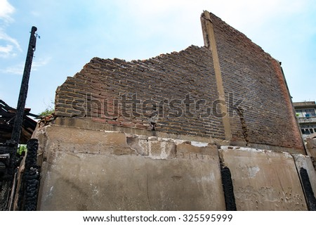 The old house is on fire,Conflagration - stock photo