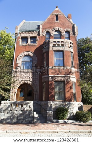 The old house on historic Freemason street in Norfolk city (West Virginia). - stock photo