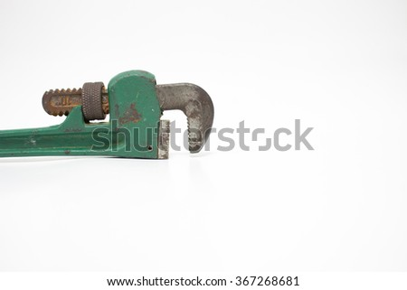 The old 10-inch pipe wrench - stock photo