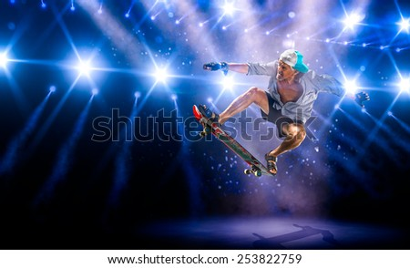 The old man is skating on the grand arena
