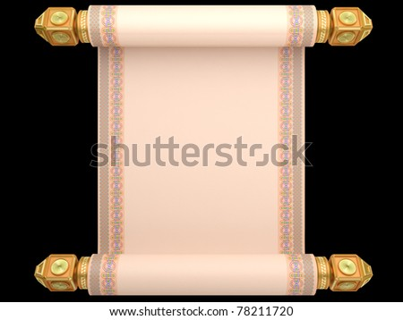 The old manuscript a roll on a gold basis isolated on a white background - stock photo
