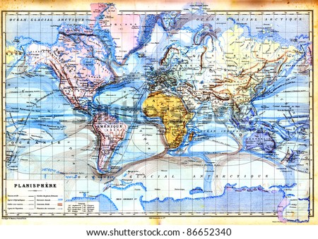 The old map of planisphere or World map with colors in it. Vintage map from the late 19th century, Trousset encyclopedia (1886 - 1891). - stock photo