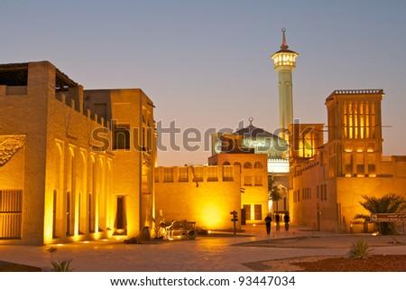 The old merchant quarter of Bastakiya in Dubai, United Arab Emirates. - stock photo