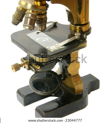 The old microscope from personal collection - stock photo