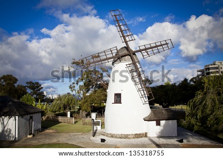 The Old Mill (Shentons Mill) is a restored tower mill located on Mill Point in South Perth, Western Australia. - stock photo