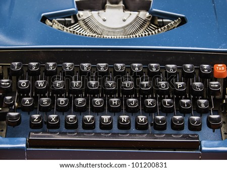 The old model typewriter's alphabet keys and console. It is the best friend of writer. - stock photo