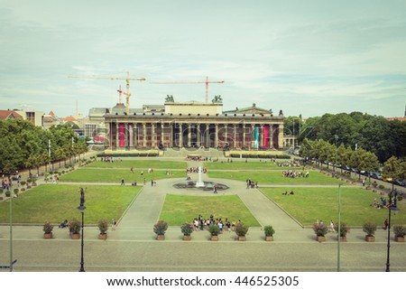 The Old Museum at the park Lustgarten on Museum Island in Berlin. Vintage look - stock photo