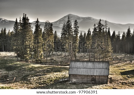 The old neglected house is in the high mountains of Carpathians - stock photo