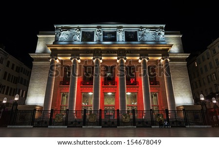 The old opera of Marseille in South France at night - stock photo