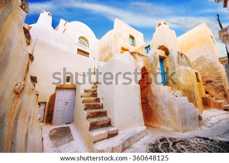 The old part of Emporio village, Santorini, Greece - stock photo