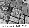 The old pavement in in Jerusalem (black and white) - Israel - stock photo