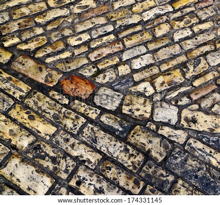 The old pavement in Jerusalem - Israel - stock photo