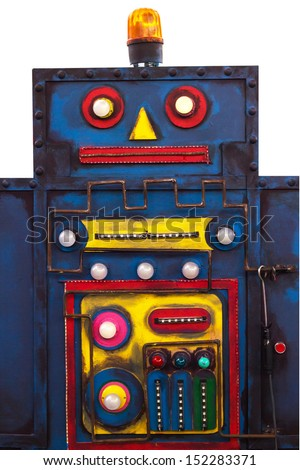 the old plaything robot is steel blue