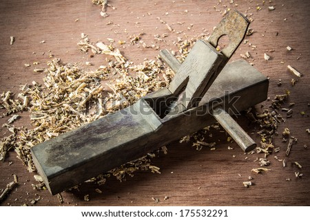 the old plean in work shop with wood work - stock photo