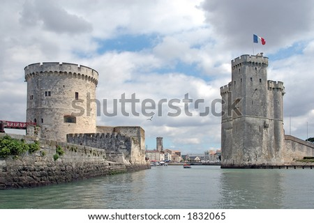 The old port of La Rochelle (France) seen from the ocean - stock photo
