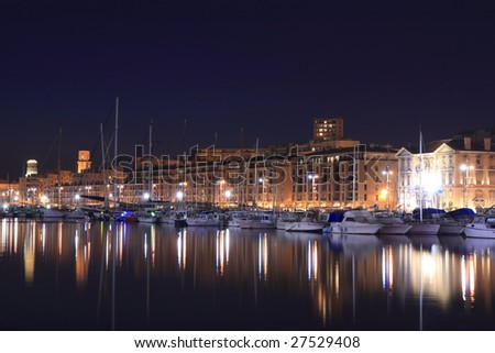 The Old Port of Marseille at Night - stock photo