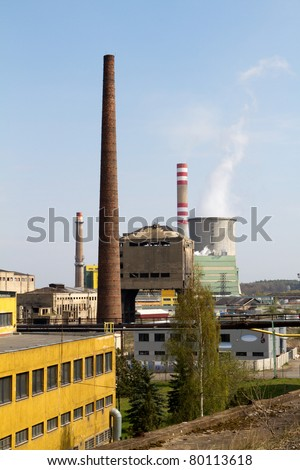 The old power plant in Kladno in the background with the new