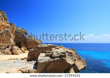 The old quarry tuff favignana now abandoned near the beautiful sea - stock photo
