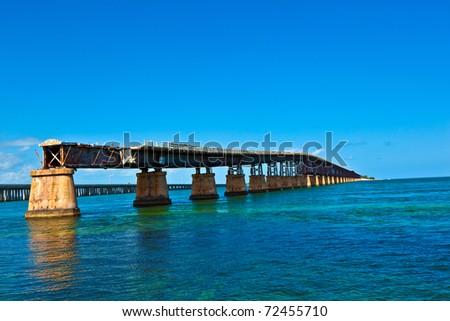 The old Railroad Bridge on the Bahia Honda Key in the Florida keys - stock photo