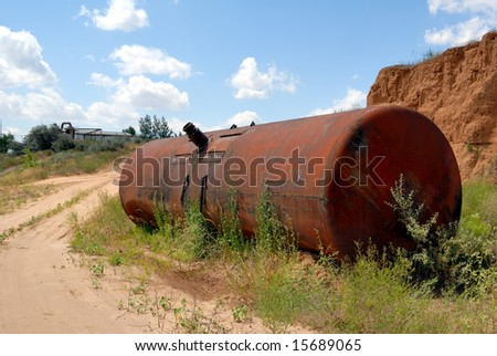 The old railway tank worth on the ground