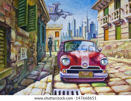 The old red car is standing at the sunny street of the southern city near the old colonial style architecture buildings. The oil painting 70x50 cm. - stock photo