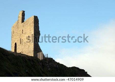 the old ruin of a castle in ballybunion