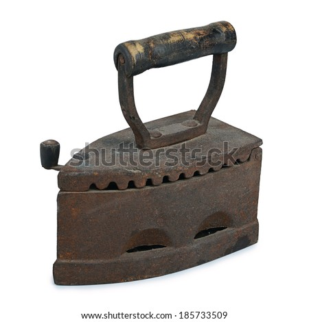 The old rusty iron  isolated on white - stock photo
