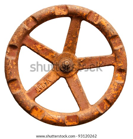 The old rusty metal valve, isolated on a white background - stock photo