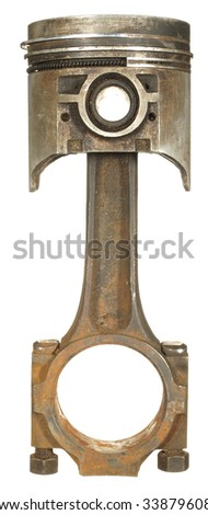 The old rusty piston with a rod isolated on a white background