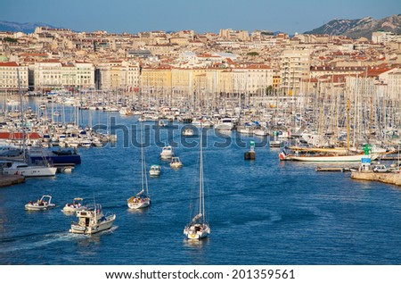 The old sea-port of Marseille, France (View port) - stock photo