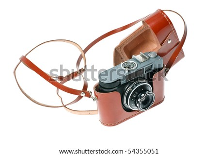 The old Soviet camera in its case, studio isolated