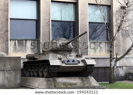 The old soviet tank in a museum - stock photo