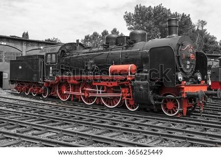 The old steam locomotive - stock photo