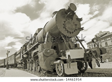 The old steam locomotive in Riga depot. - stock photo
