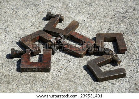 The old steel clamp - stock photo