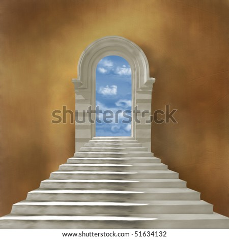 The old stone building with staircase and entrance - stock photo