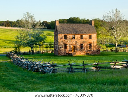 The old stone house in the center of the Manassas Civil War battlefield site near Bull Run - stock photo