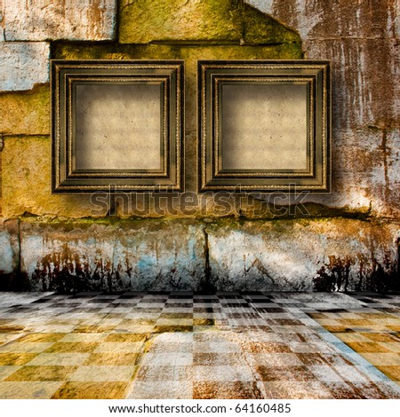 The old stone room with wooden picture frames in Victorian style - stock photo