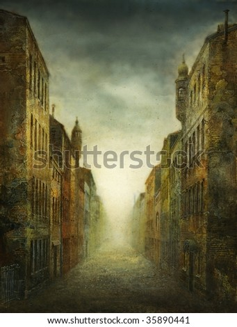 The old street. Made by acrylic on paper. - stock photo