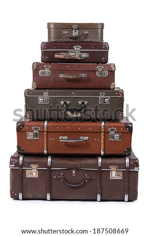 The old suitcase isolated on white background - stock photo
