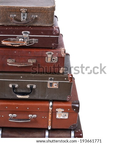 The old suitcase isolated on white background