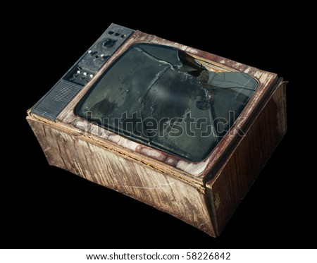 The old television is garbage. - stock photo
