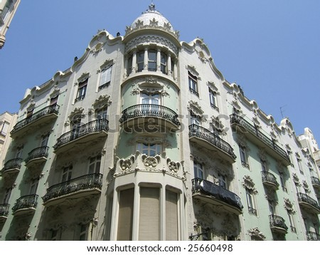 the old town building, valencia - stock photo