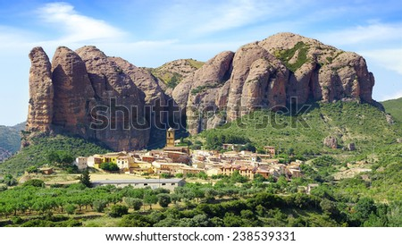 The old town built on the Aguero Mountains, Huesca, Spain - stock photo
