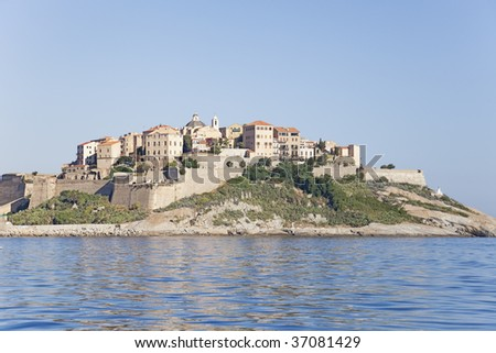 The old town by the sea in Calvi, corsica.