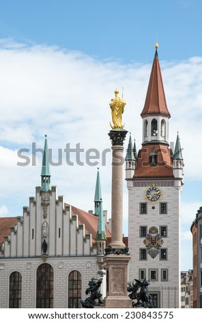 The old town hall of Munich at the Marienplatz.
